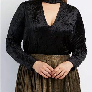 Plus size velvet Sexy Choker neckline bodysuit